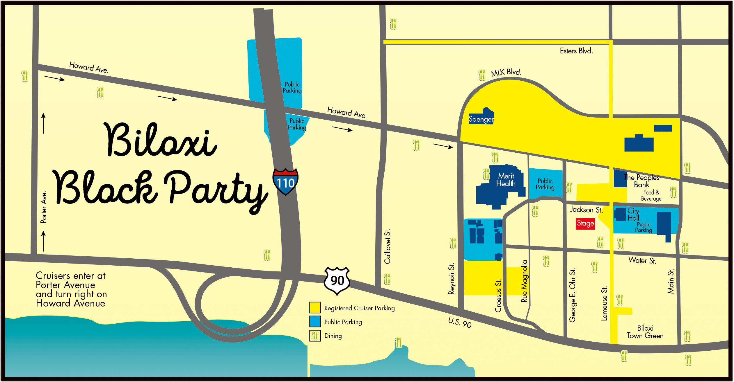 Map Biloxi Block Party Cruisin The Coast